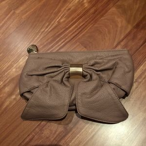 Tan Clutch Purse with Bow
